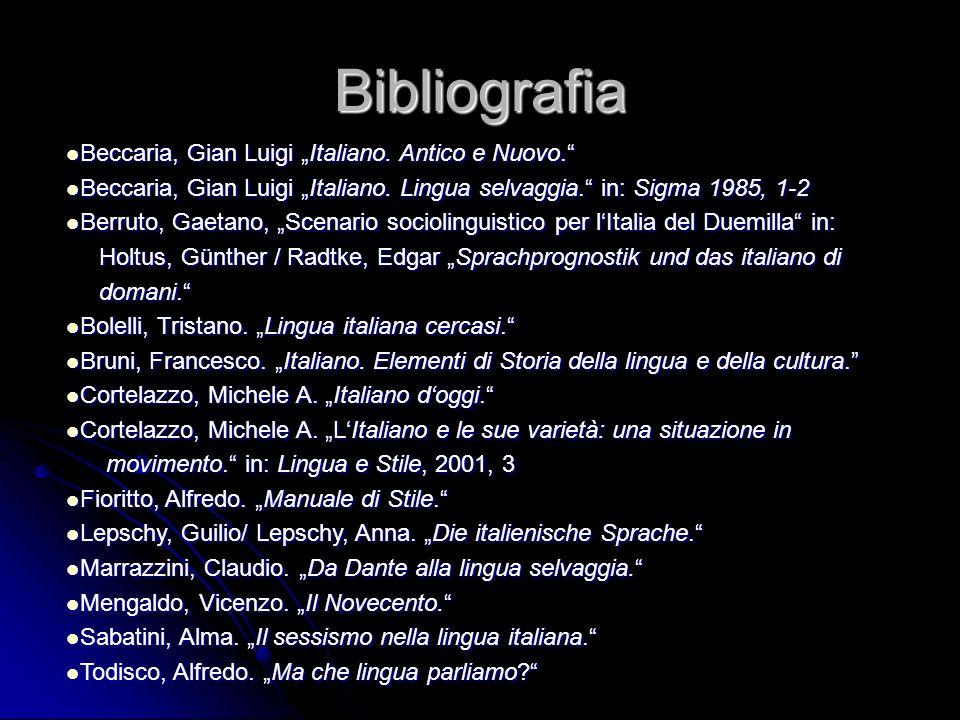 Bibliografia Beccaria, Gian Luigi Italiano. Antico e Nuovo. Beccaria, Gian Luigi Italiano. Antico e Nuovo. Beccaria, Gian Luigi Italiano. Lingua selva