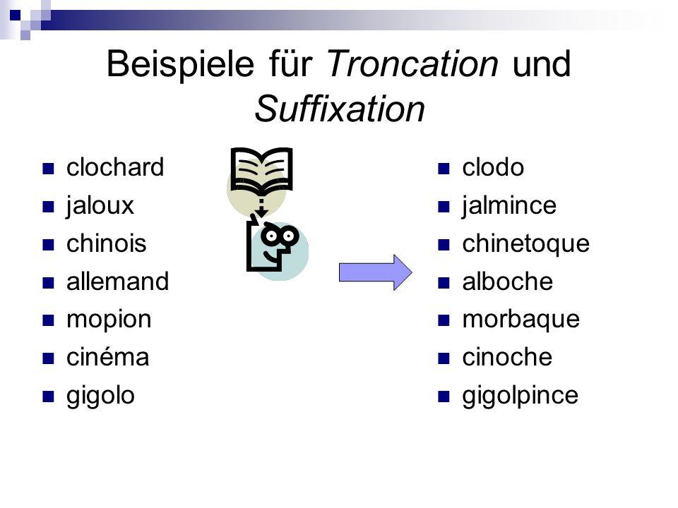 Beispiele für Troncation und Suffixation clochard jaloux chinois allemand mopion cinéma gigolo clodo jalmince chinetoque alboche morbaque cinoche gigo