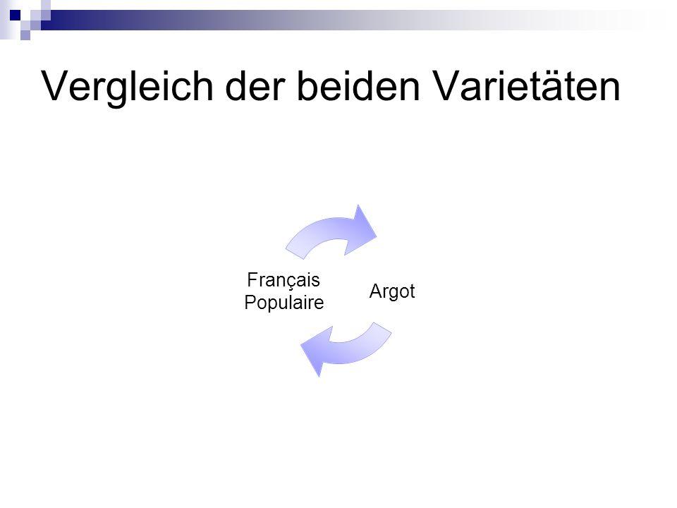 Vergleich der beiden Varietäten Argot Français Populaire