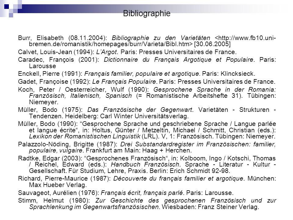 Bibliographie Burr, Elisabeth (08.11.2004): Bibliographie zu den Varietäten [30.06.2005] Calvet, Louis-Jean (1994): LArgot. Paris: Presses Universitai