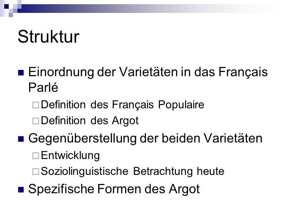 Struktur Einordnung der Varietäten in das Français Parlé Definition des Français Populaire Definition des Argot Gegenüberstellung der beiden Varietäte