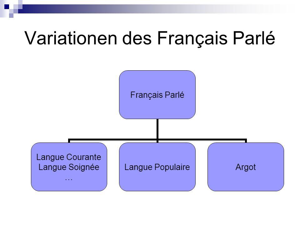 Differenzierung der Varietäten Français Populaire Nicht auf eine bestimmte Bevölkerungsgruppe oder Klasse eingrenzbar Natürliche Entwicklung außerhalb einer präskriptiven Norm: