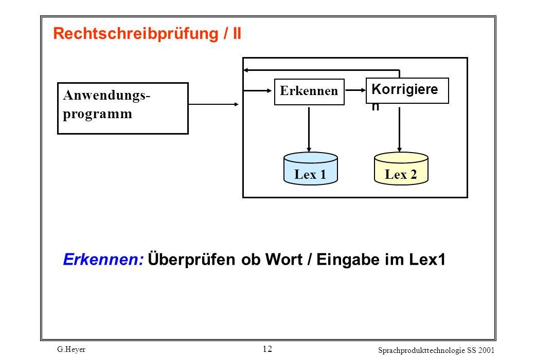G.Heyer Sprachprodukttechnologie SS 2001 12 Rechtschreibprüfung / II Anwendungs- programm Erkennen Korrigiere n Lex 1Lex 2 Erkennen: Überprüfen ob Wort / Eingabe im Lex1