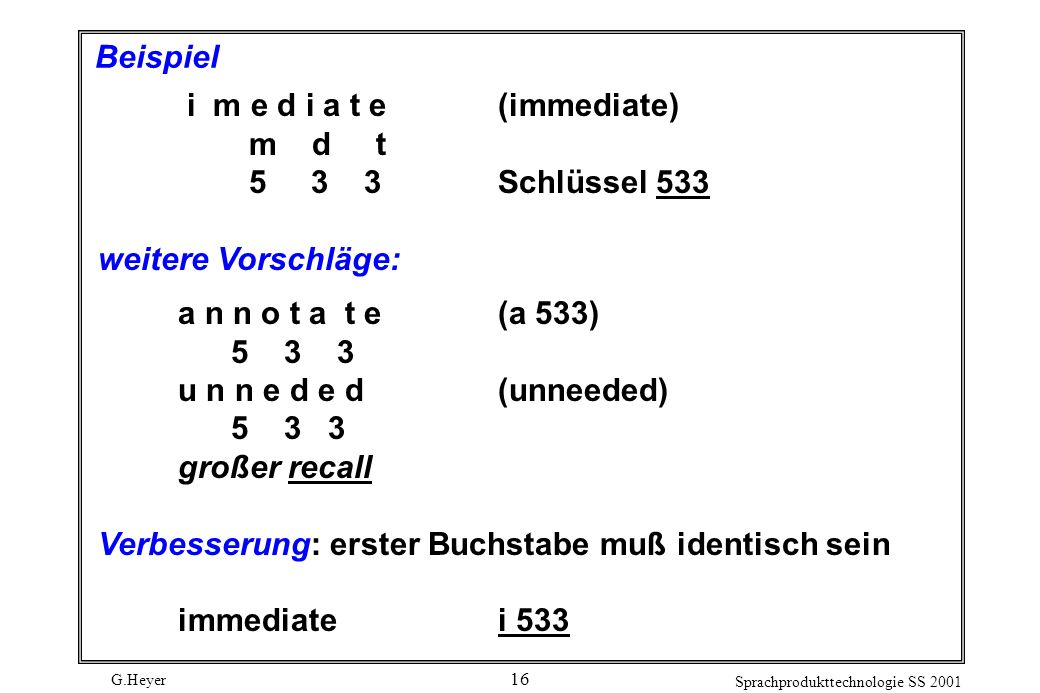 G.Heyer Sprachprodukttechnologie SS 2001 16 Beispiel i m e d i a t e(immediate) m d t 5 3 3Schlüssel 533 weitere Vorschläge: a n n o t a t e(a 533) 5 3 3 u n n e d e d(unneeded) 5 3 3 großer recall Verbesserung: erster Buchstabe muß identisch sein immediate i 533