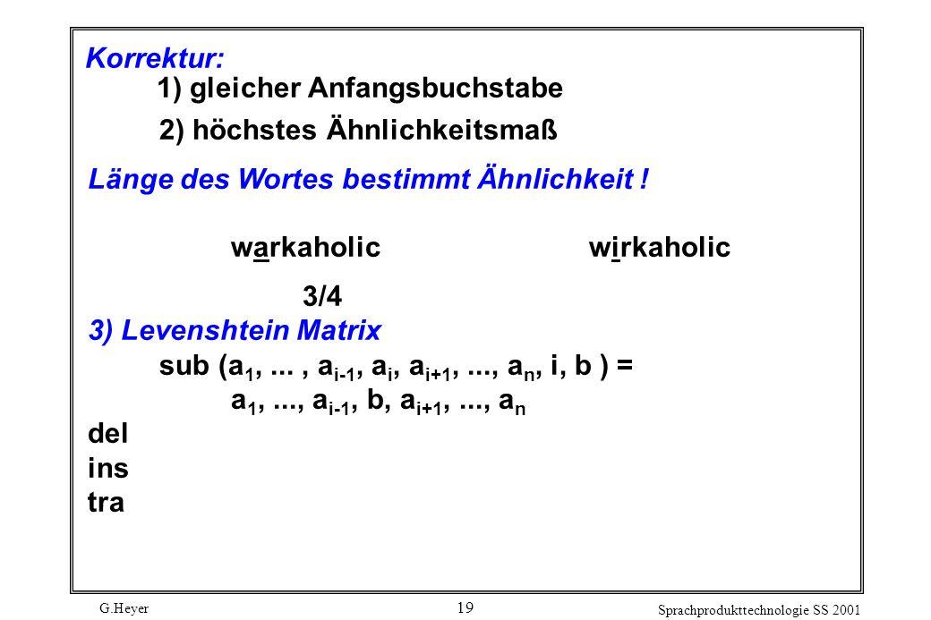 G.Heyer Sprachprodukttechnologie SS 2001 19 Korrektur: 1) gleicher Anfangsbuchstabe 2) höchstes Ähnlichkeitsmaß Länge des Wortes bestimmt Ähnlichkeit .
