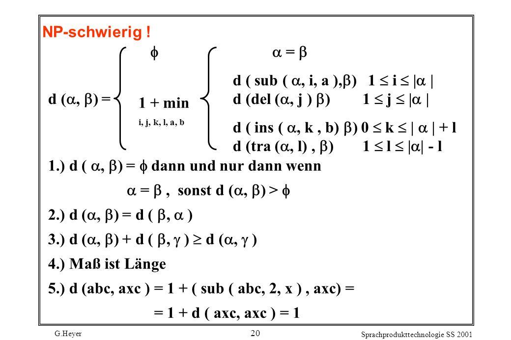 G.Heyer Sprachprodukttechnologie SS 2001 20 NP-schwierig .