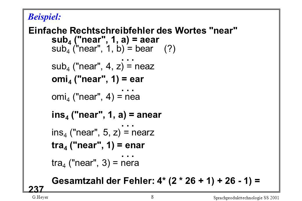 G.Heyer Sprachprodukttechnologie SS 2001 8 Beispiel: Einfache Rechtschreibfehler des Wortes near sub 4 ( near , 1, a) = aear sub 4 ( near , 1, b) = bear ( )...