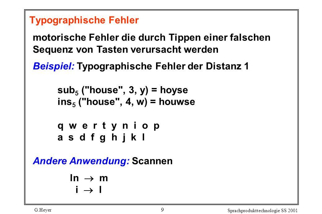 G.Heyer Sprachprodukttechnologie SS 2001 9 Typographische Fehler motorische Fehler die durch Tippen einer falschen Sequenz von Tasten verursacht werden Beispiel: Typographische Fehler der Distanz 1 sub 5 ( house , 3, y) = hoyse ins 5 ( house , 4, w) = houwse q w e r t y n i o p a s d f g h j k l Andere Anwendung: Scannen ln m i l