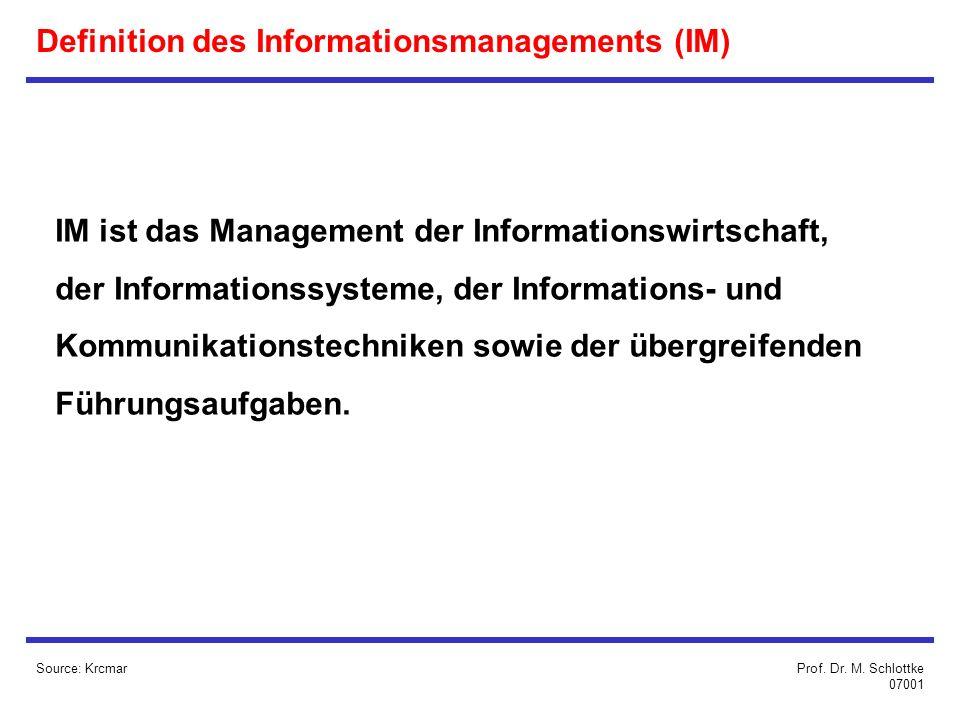 Definition des Informationsmanagements (IM) IM ist das Management der Informationswirtschaft, der Informationssysteme, der Informations- und Kommunikationstechniken sowie der übergreifenden Führungsaufgaben.