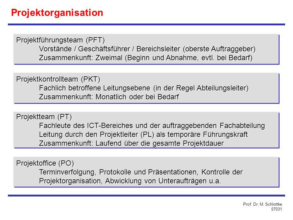 Projektführungsteam (PFT) Vorstände / Geschäftsführer / Bereichsleiter (oberste Auftraggeber) Zusammenkunft: Zweimal (Beginn und Abnahme, evtl.