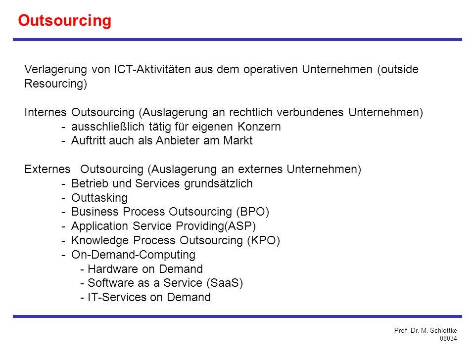 Outsourcing Verlagerung von ICT-Aktivitäten aus dem operativen Unternehmen (outside Resourcing) InternesOutsourcing (Auslagerung an rechtlich verbundenes Unternehmen) -ausschließlich tätig für eigenen Konzern -Auftritt auch als Anbieter am Markt ExternesOutsourcing (Auslagerung an externes Unternehmen) -Betrieb und Services grundsätzlich -Outtasking -Business Process Outsourcing (BPO) -Application Service Providing(ASP) -Knowledge Process Outsourcing (KPO) -On-Demand-Computing - Hardware on Demand - Software as a Service (SaaS) - IT-Services on Demand Prof.
