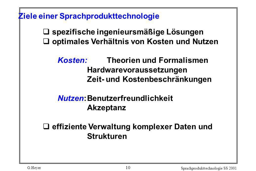 G.Heyer Sprachprodukttechnologie SS 2001 10 Ziele einer Sprachprodukttechnologie spezifische ingenieursmäßige Lösungen optimales Verhältnis von Kosten