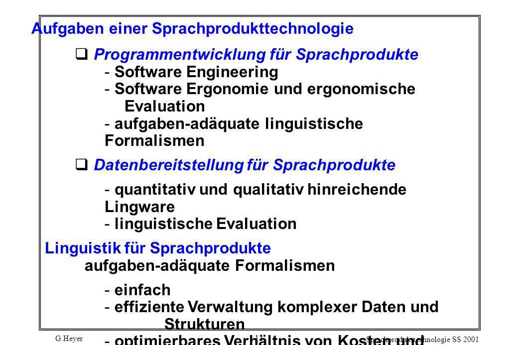 G.Heyer Sprachprodukttechnologie SS 2001 11 Aufgaben einer Sprachprodukttechnologie Programmentwicklung für Sprachprodukte  Software Engineering  So