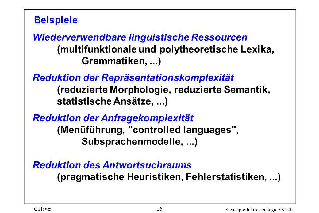 G.Heyer Sprachprodukttechnologie SS 2001 16 Beispiele Wiederverwendbare linguistische Ressourcen (multifunktionale und polytheoretische Lexika, Gramma