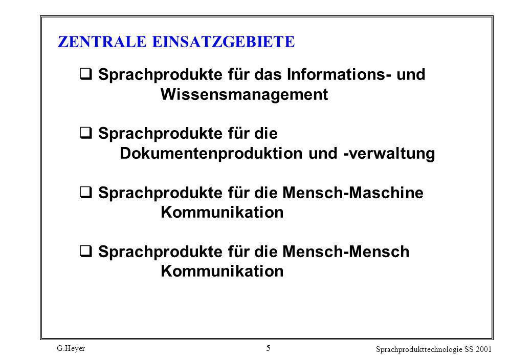 G.Heyer Sprachprodukttechnologie SS 2001 5 ZENTRALE EINSATZGEBIETE Sprachprodukte für das Informations- und Wissensmanagement Sprachprodukte für die D