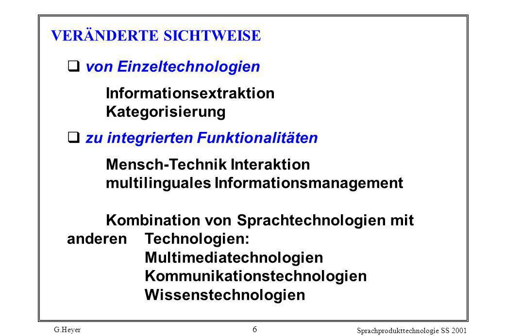 G.Heyer Sprachprodukttechnologie SS 2001 6 VERÄNDERTE SICHTWEISE von Einzeltechnologien Informationsextraktion Kategorisierung zu integrierten Funktio