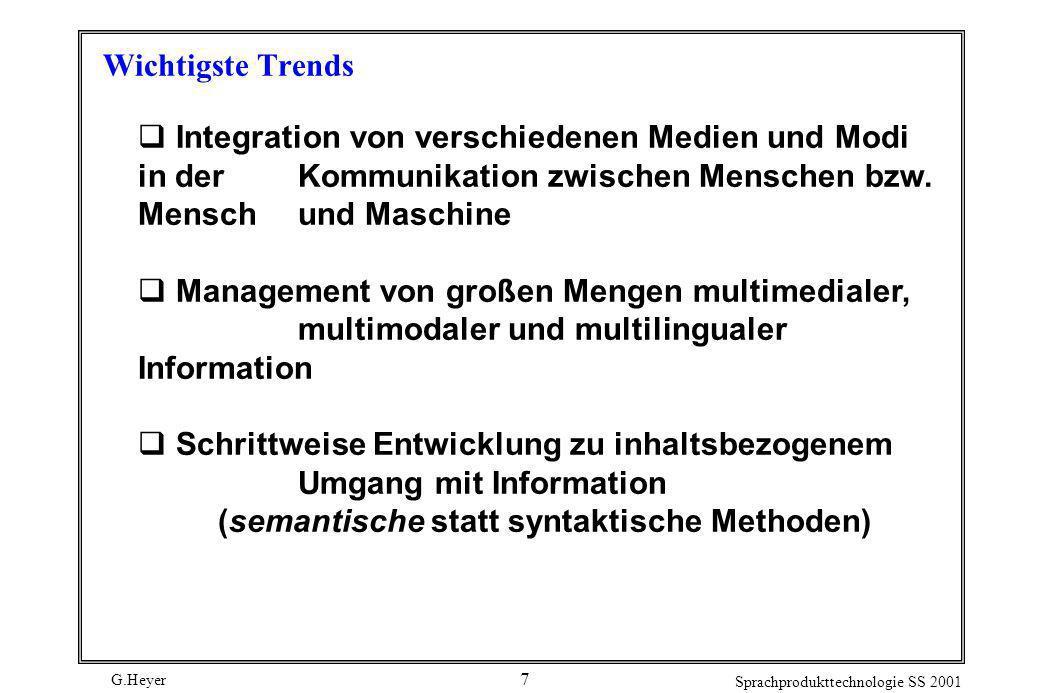 G.Heyer Sprachprodukttechnologie SS 2001 7 Wichtigste Trends Integration von verschiedenen Medien und Modi in der Kommunikation zwischen Menschen bzw.