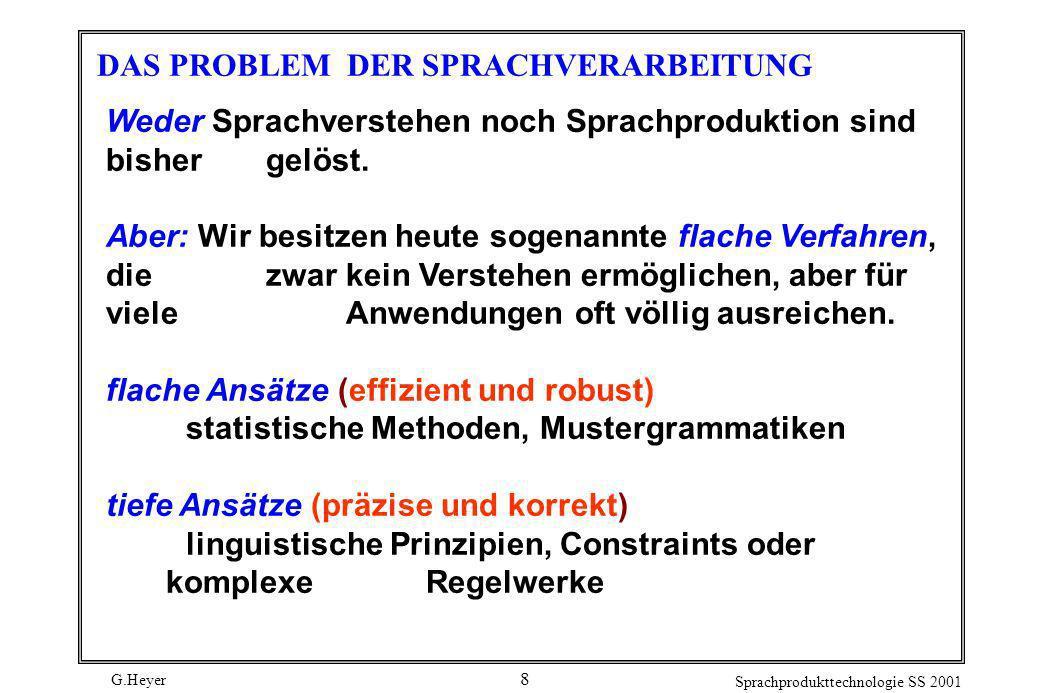 G.Heyer Sprachprodukttechnologie SS 2001 8 DAS PROBLEM DER SPRACHVERARBEITUNG Weder Sprachverstehen noch Sprachproduktion sind bisher gelöst. Aber: Wi