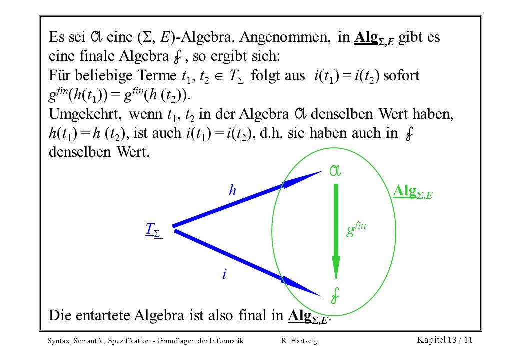 Syntax, Semantik, Spezifikation - Grundlagen der Informatik R. Hartwig Kapitel 13 / 11 Es sei A eine (, E)-Algebra. Angenommen, in Alg,E gibt es eine