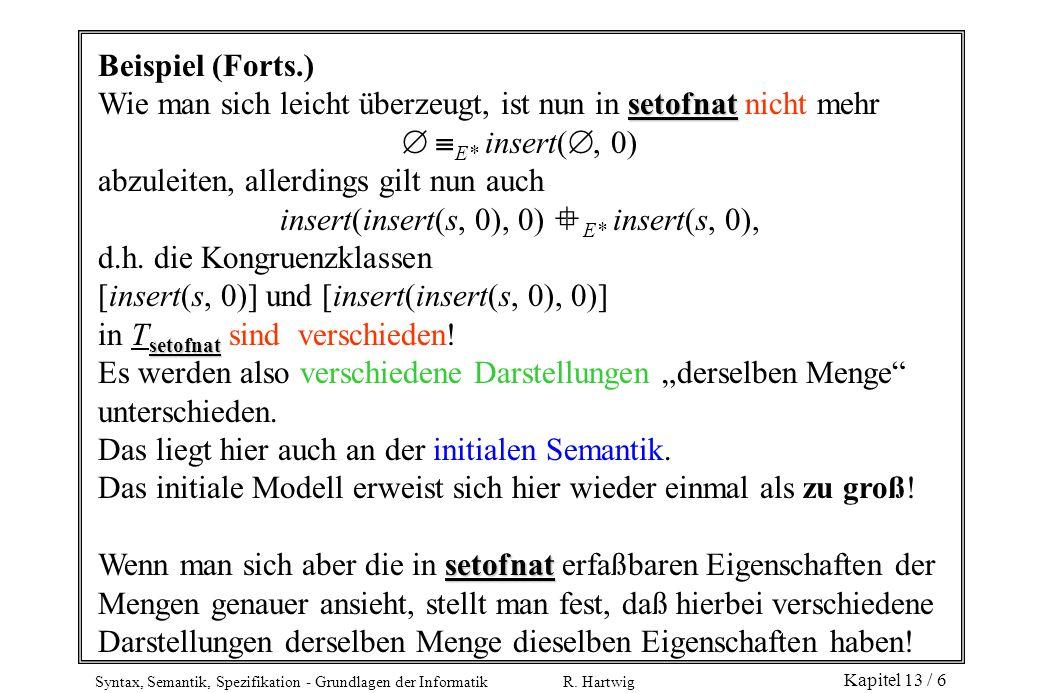 Syntax, Semantik, Spezifikation - Grundlagen der Informatik R. Hartwig Kapitel 13 / 6 Beispiel (Forts.) setofnat Wie man sich leicht überzeugt, ist nu