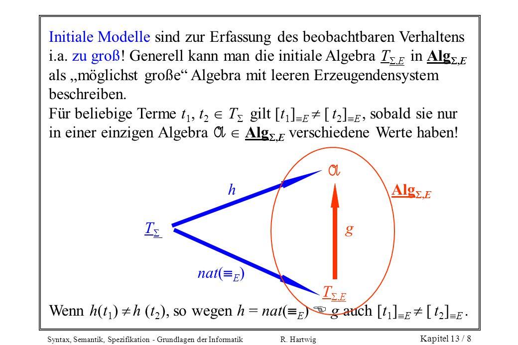 Syntax, Semantik, Spezifikation - Grundlagen der Informatik R. Hartwig Kapitel 13 / 8 Initiale Modelle sind zur Erfassung des beobachtbaren Verhaltens