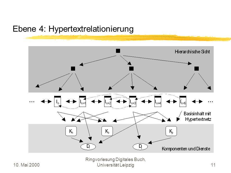 10. Mai 2000 Ringvorlesung Digitales Buch, Universität Leipzig11 Ebene 4: Hypertextrelationierung