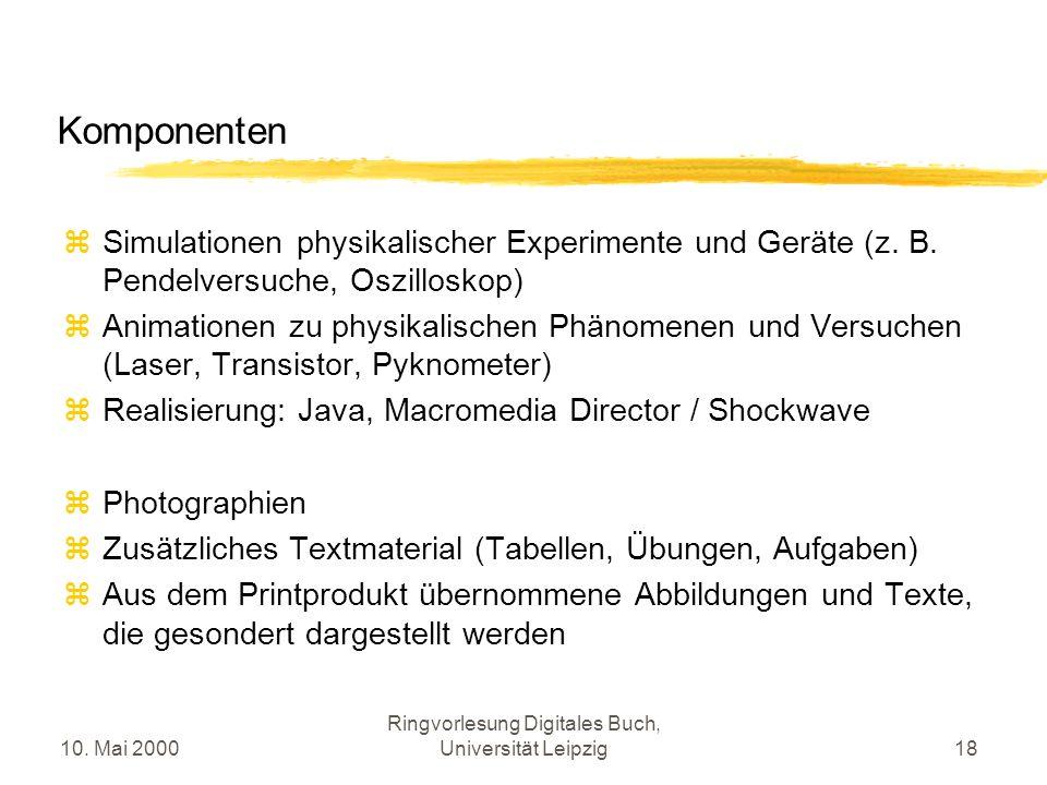 10. Mai 2000 Ringvorlesung Digitales Buch, Universität Leipzig18 Komponenten Simulationen physikalischer Experimente und Geräte (z. B. Pendelversuche,
