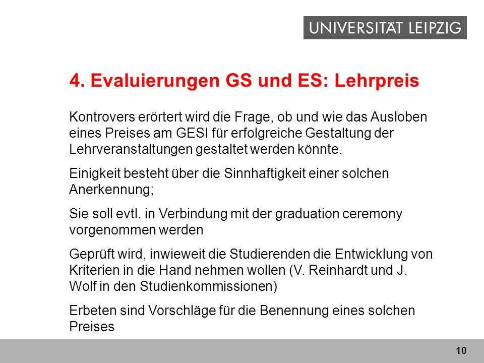 10 4. Evaluierungen GS und ES: Lehrpreis Kontrovers erörtert wird die Frage, ob und wie das Ausloben eines Preises am GESI für erfolgreiche Gestaltung