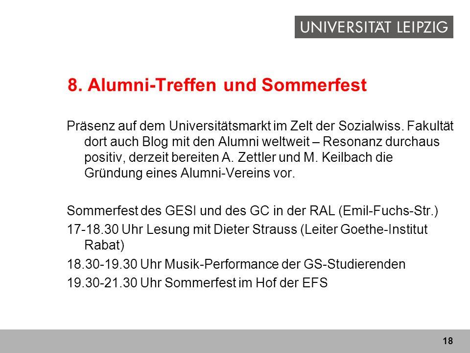 18 8. Alumni-Treffen und Sommerfest Präsenz auf dem Universitätsmarkt im Zelt der Sozialwiss. Fakultät dort auch Blog mit den Alumni weltweit – Resona