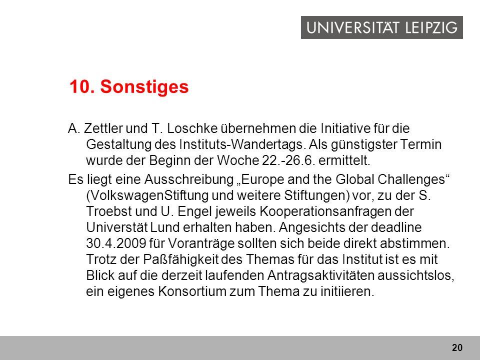 20 10. Sonstiges A. Zettler und T. Loschke übernehmen die Initiative für die Gestaltung des Instituts-Wandertags. Als günstigster Termin wurde der Beg