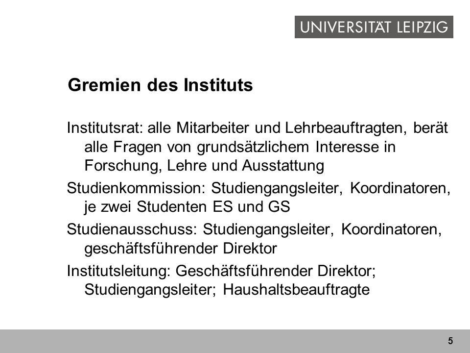 5 Gremien des Instituts Institutsrat: alle Mitarbeiter und Lehrbeauftragten, berät alle Fragen von grundsätzlichem Interesse in Forschung, Lehre und A