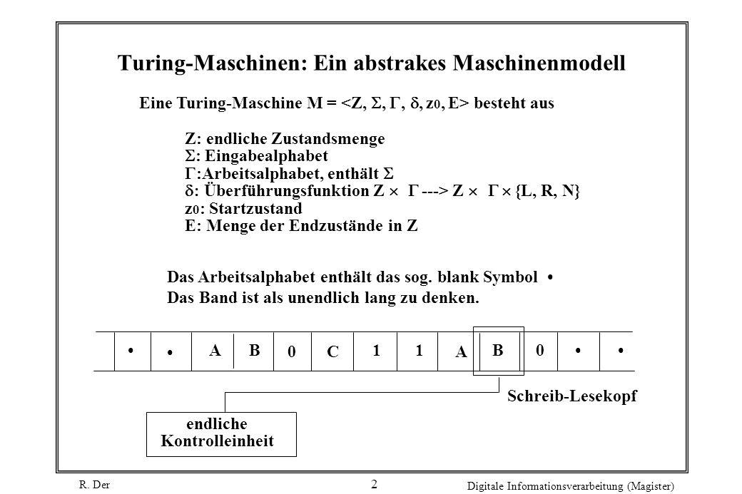 R. Der Digitale Informationsverarbeitung (Magister) 2 Turing-Maschinen: Ein abstrakes Maschinenmodell Eine Turing-Maschine M = besteht aus Z: endliche