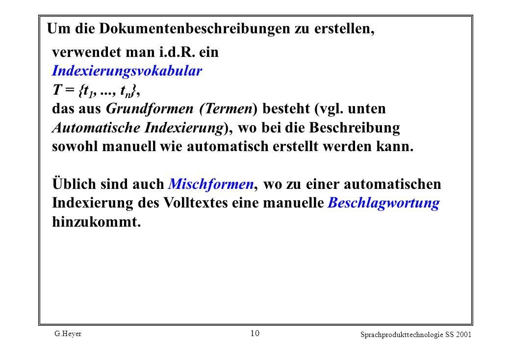 G.Heyer Sprachprodukttechnologie SS 2001 10 Um die Dokumentenbeschreibungen zu erstellen, verwendet man i.d.R. ein Indexierungsvokabular T = {t 1,...,