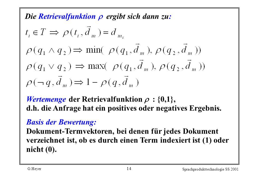G.Heyer Sprachprodukttechnologie SS 2001 14 Die Retrievalfunktion ergibt sich dann zu: Wertemenge der Retrievalfunktion : {0,1}, d.h. die Anfrage hat