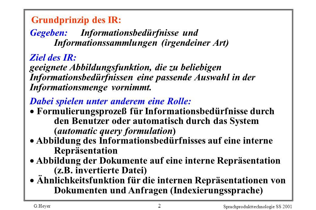 G.Heyer Sprachprodukttechnologie SS 2001 2 Grundprinzip des IR: Gegeben: Informationsbedürfnisse und Informationssammlungen (irgendeiner Art) Ziel des IR: geeignete Abbildungsfunktion, die zu beliebigen Informationsbedürfnissen eine passende Auswahl in der Informationsmenge vornimmt.