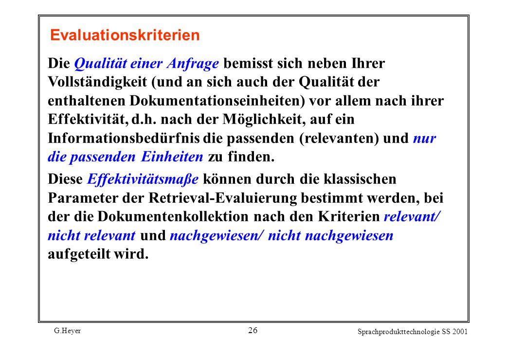 G.Heyer Sprachprodukttechnologie SS 2001 26 Evaluationskriterien Die Qualität einer Anfrage bemisst sich neben Ihrer Vollständigkeit (und an sich auch