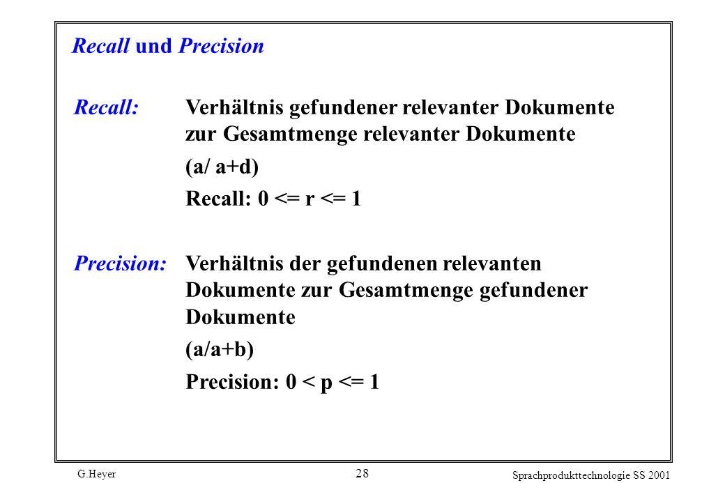 G.Heyer Sprachprodukttechnologie SS 2001 28 Recall und Precision Recall:Verhältnis gefundener relevanter Dokumente zur Gesamtmenge relevanter Dokumente (a/ a+d) Recall: 0 <= r <= 1 Precision:Verhältnis der gefundenen relevanten Dokumente zur Gesamtmenge gefundener Dokumente (a/a+b) Precision: 0 < p <= 1