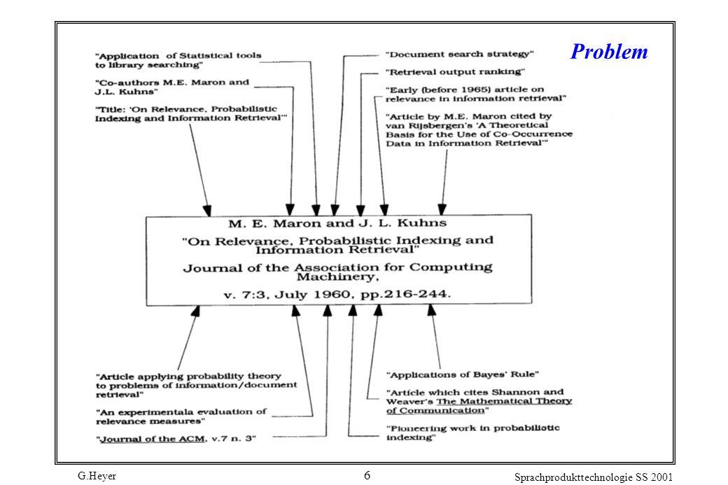 G.Heyer Sprachprodukttechnologie SS 2001 17 Das vector space model (vsm) von Salton Seit Anfang der 60 er Jahre von Salton et al.