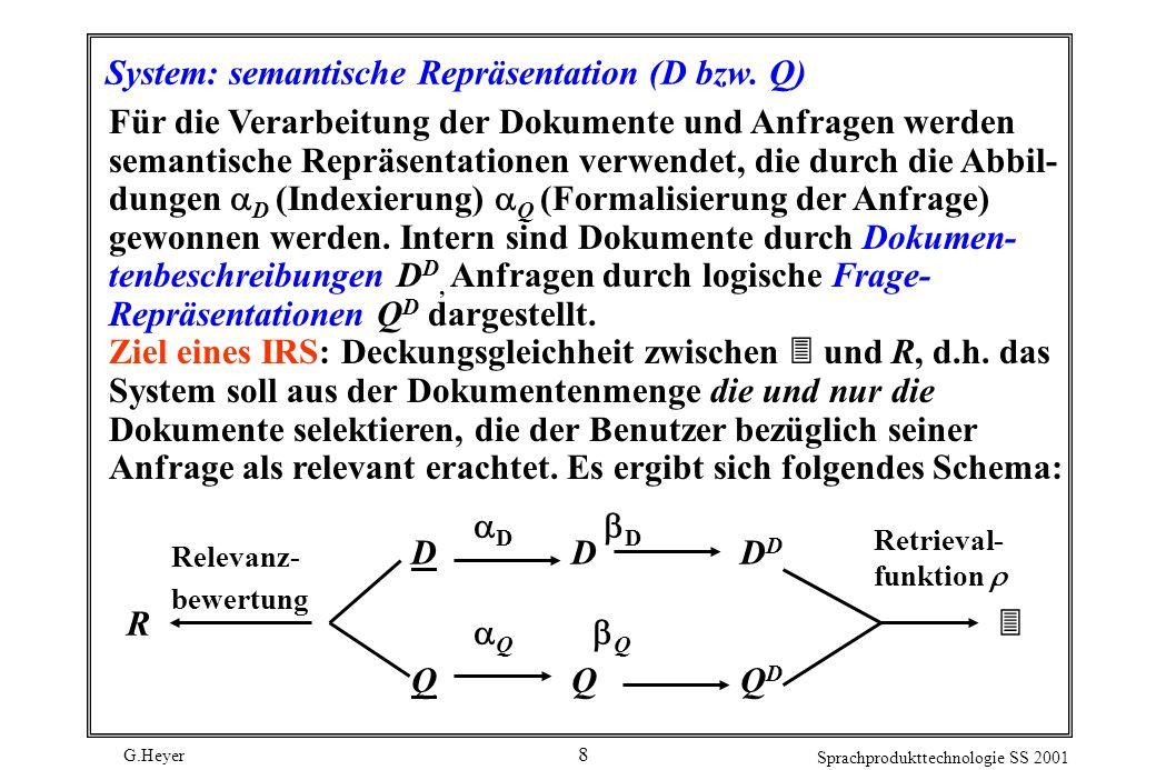 G.Heyer Sprachprodukttechnologie SS 2001 8 System: semantische Repräsentation (D bzw. Q) Für die Verarbeitung der Dokumente und Anfragen werden semant