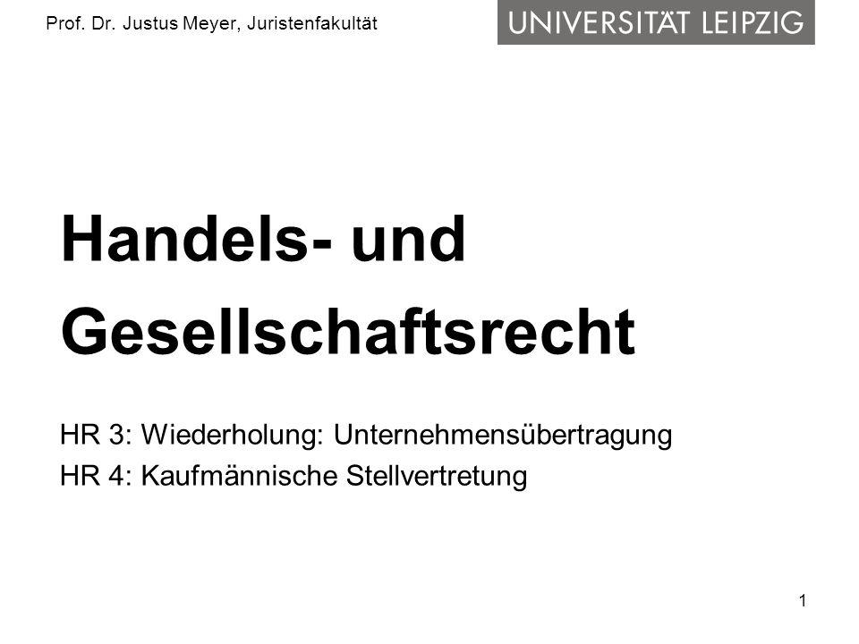 1 Prof. Dr. Justus Meyer, Juristenfakultät Handels- und Gesellschaftsrecht HR 3: Wiederholung: Unternehmensübertragung HR 4: Kaufmännische Stellvertre