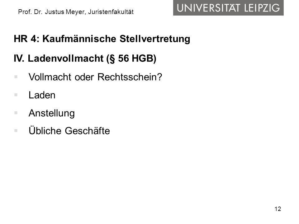 12 Prof. Dr. Justus Meyer, Juristenfakultät HR 4: Kaufmännische Stellvertretung IV. Ladenvollmacht (§ 56 HGB) Vollmacht oder Rechtsschein? Laden Anste