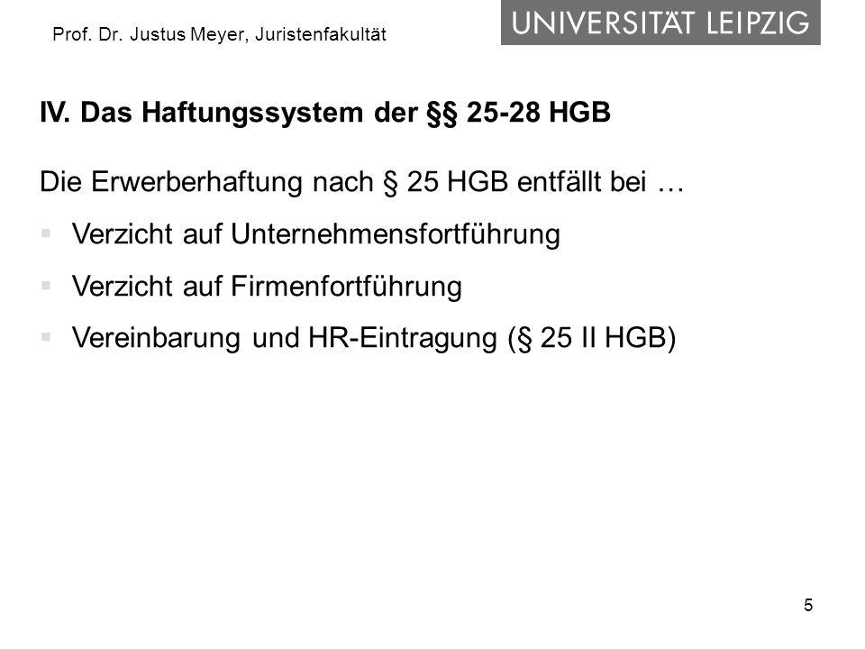 5 Prof. Dr. Justus Meyer, Juristenfakultät IV. Das Haftungssystem der §§ 25-28 HGB Die Erwerberhaftung nach § 25 HGB entfällt bei … Verzicht auf Unter