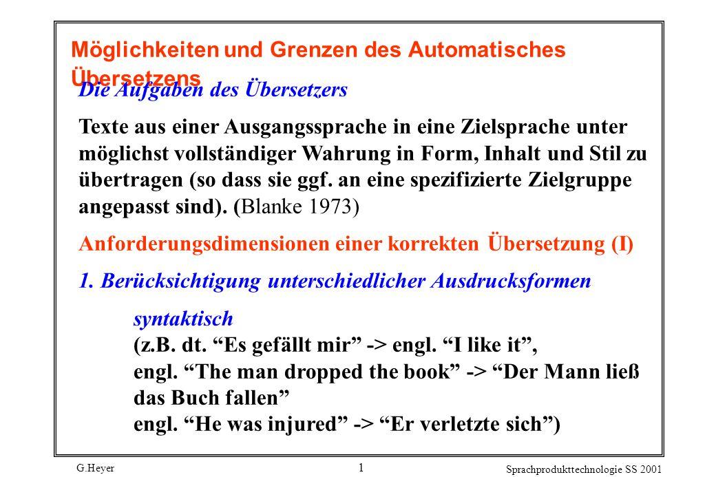 G.Heyer Sprachprodukttechnologie SS 2001 1 Möglichkeiten und Grenzen des Automatisches Übersetzens Die Aufgaben des Übersetzers Texte aus einer Ausgan