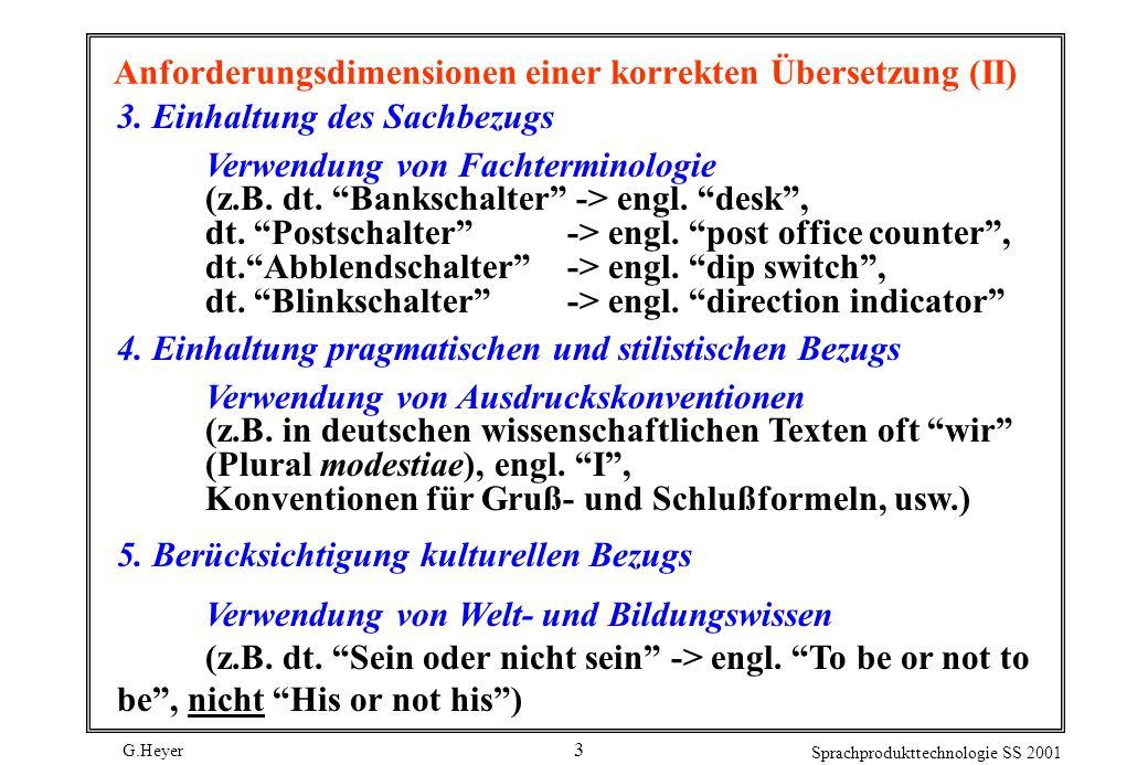 G.Heyer Sprachprodukttechnologie SS 2001 3 Anforderungsdimensionen einer korrekten Übersetzung (II) 3. Einhaltung des Sachbezugs Verwendung von Fachte