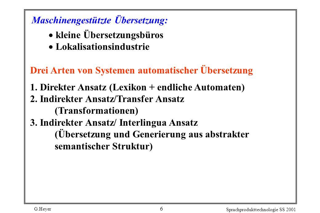 G.Heyer Sprachprodukttechnologie SS 2001 7 Transfer und Interlingua Pyramide Interlingua / Wissensrepräsentation Analyse Generierung Quelltext Zieltext Semantik Syntax Lexikon Transfer direkte Übersetzung