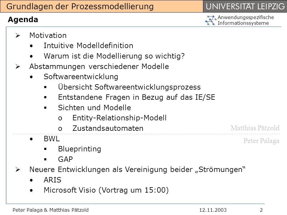 Anwendungsspezifische Informationssysteme Grundlagen der Prozessmodellierung 12.11.2003Peter Palaga & Matthias Pätzold13 BWL-Modelle Überzeugungen aufgrund der gelesenen Literatur: Modellierung im Bereich BWL existiert nicht lange (+-5 Jahren) Es gibt keine mit der UML vergleichbar standardisierte/bekannte/verbreitete Modellierungssprachen Blueprinting (wird ausgearbeitet) GAP (wird ausgearbeitet) Modelle oft entweder ganz intuitiv, oder ad hoc & wenig formalisiert Die BWL-Leute leihen sich die Ausdrucksmittel aus der SW- Engineering (ER-Modell, UML) aus