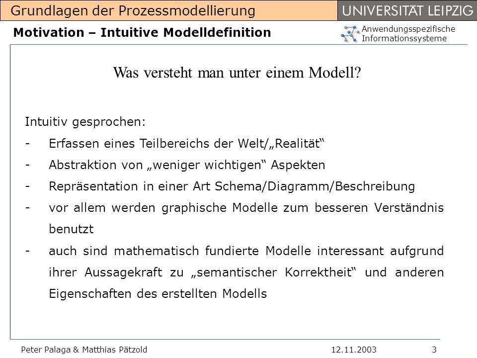 Anwendungsspezifische Informationssysteme Grundlagen der Prozessmodellierung 12.11.2003Peter Palaga & Matthias Pätzold14 Fahrplan Motivation Modelldefinition Warum ist die Modellierung so wichtig.