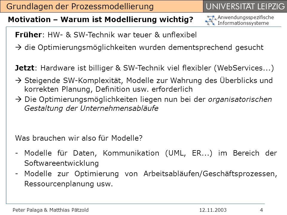 Anwendungsspezifische Informationssysteme Grundlagen der Prozessmodellierung 12.11.2003Peter Palaga & Matthias Pätzold5 Abstammungen verschiedener Modelle Es haben sich mit der Zeit verschiedene, nebeneinander existierende Modelle für unterschiedliche Anwendungen entwickelt.