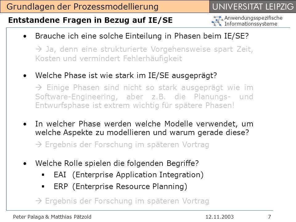 Anwendungsspezifische Informationssysteme Grundlagen der Prozessmodellierung 12.11.2003Peter Palaga & Matthias Pätzold18 Sichten in ARIS 2 Die Zerlegung ermöglicht es, die die Sichten weitgehend unabhängig voneinander und mit den spezialisierten Mitteln zu Beschreiben.