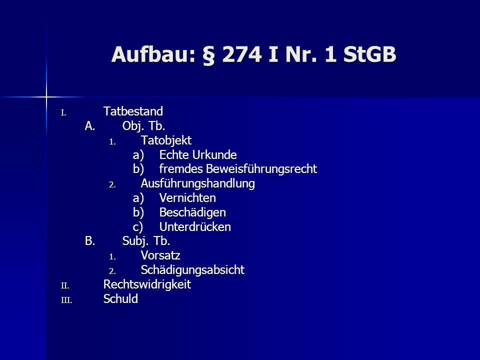 Aufbau: § 274 I Nr. 1 StGB I. Tatbestand A.Obj. Tb.